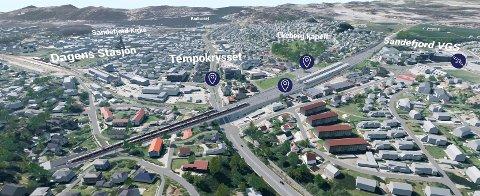 ETT AV TO: Ett alternativ er å legge nytt dobbeltspor i tunnel under Mokollen og flytte togstasjonen vest for Sandefjordsveien, slik det er illustrert her. Den nøyaktige plasseringen kan bli annerledes enn dette utkastet. Dette er mer et eksempel på hvordan det kan ta seg ut, presiserer BaneNOR. Illustrasjon: BaneNOR