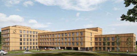 MASSIVTRE: Slik vil Nye gullbring studentheim se ut. Bygget blir i massivtre og skal huse nærmere 300 studenter. De får bra med sykkelplasser, men lite p-plass. illustrasjon: Code Arkitektur
