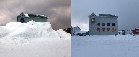 Et døgn skiller disse to bildene. Tirsdag var det et snødeponi ved rådhuset som var tre etasjer høyt. Onsdag var dette fjernet.