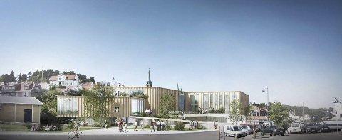 B13: Skisse av det planlagte kommunens nye administrasjonsbygg på Danskekaia. (Illustrasjon: B13 Kragerø AS/Erik Malm)