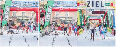 SLAPP MED SKREKKEN: Vinjar Skogsholm måtte dra fram ski-kunst da han hoppet over to konkurrenter like før målstreken i Østerrike.