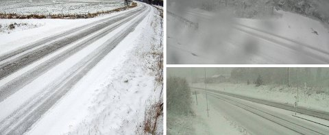 SNØ: Det snør i fjellstrøkene i Innlandet i helga. Her fra riksveg 3 over Kvikne og nordover til Ulsberg i Trøndelag. Neste uke skal det komme snø over hele fylket - og det er derfor på tide å legge om til vinterdekk.