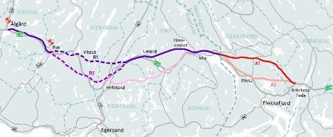 Nye Veier mener Korridorene A1 (via Lølandsvann) og R1 (nordligste alternativ gjennom Rogaland) bør velges – for de har den beste samfunnsøkonomiske lønnsomheten.