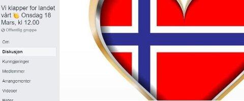 I Facebook-gruppen, som nå har nesten 60.000 medlemmer,oppfordres det til å klappe for de som holder Norge i gang i dag onsdag klokka 12.00.