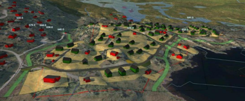Illustrasjon som viser planlagt utbygging i landskapet. Raude hytter er eksisterande, grøne hytter er nye. Grøne felt syner planlagde skiløyper.