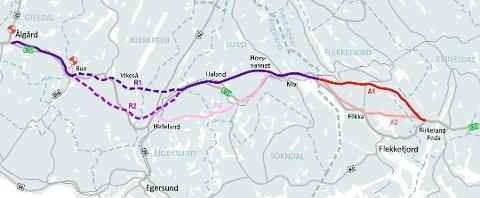 A1 eller A2:  Nye Veier truer med at E39 forbi Flekkefjord vil bli forsinket om kommunen opprettholder kravet om å bygge i traseen A2.