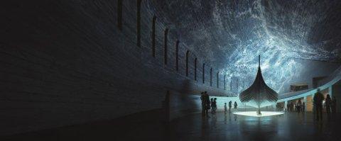GAVE: UiO får 200 millioner i gave til nytt vikingtidsmuseum. Illustrasjonen viser et  iscenesatt Gokstadskip. Teknologiske løsninger skal skape nye opplevelser.