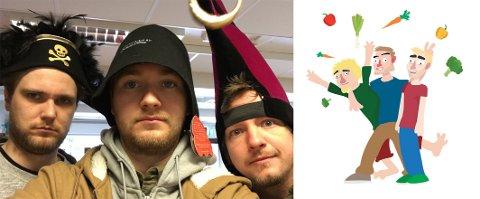 HUMOR: Marius Stene fra Brusand (t.h på det første bildet) skaper humor for NRK, sammen med Jan Petter Aarskog (t.v) og Arild Ørnholt (i midten). På illustrasjonsbildet har de skapt seg selv i animert form. Her er det Stene fra venstre, Aarskog i midten og Ørnholt til høyre.