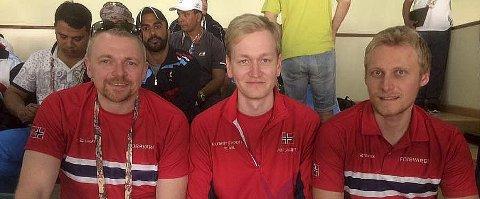 TO AV TO MULIGE: Hans Kristian Wear (t.v.), Odd Arne Brekne og Kim-André Aannestad Lund sikret Norge nok et laggull i militært VM i Doha.