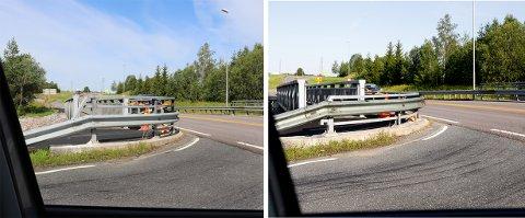 Bilene som kommer ut fra Nesveien har fått et par meter bedre sikt, men bilistene mener Statens vegvesen bør fjerne den nye broen og bygge ny, hvor ikke gelendret er så stort og kraftig. Gelendret er kuttet på bilde til høyre.
