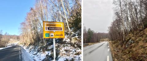 FØR OG ETTER: Skiltet som sto plassert på Høle er fjernet.