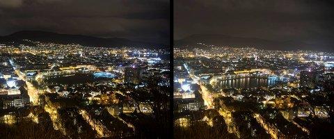 Bildet til høyre ble tatt fra Fjellveien klokken 20.28, mens bildet til venstre ble tatt et kvarter inn i Earth Hour, klokken 20.44.