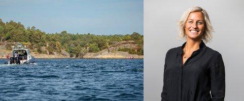 Den tidligere langrennsløperen Vibeke Skofterud omkom i en vannscooterulykke på øya St. Helena ved Tromøy natt til søndag. Her er politibåten på vei ut til ulykkesstedet.