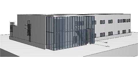 FLYTTER: Slik vil ResQ sitt nye sikkerhetssenter i Kristiansund fortone seg i Melkvika næringspark.