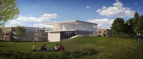 TILBYGG: Slik kan det nye tilbygget som planlegges ved campus Levanger på Røstad bli seende ut. Mesteparten av nybygget skal benyttes av skuespillerutdanninga som er vedtatt flyttet fra Verdal til Levanger.
