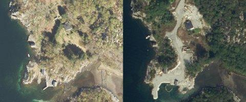 FØR og ETTER: Bildet til venstre er tatt i 2017, mens bildet til høyre viser hvordan det så ut i 2019. Nå skal området tilbakeføres til slik det så ut i 2017.