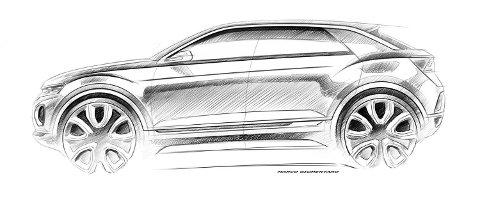 Slik teaser Volkswagen sin nye, kompakte SUV. Det er ikke lenge til vi får se den i virkeligheten, og uten kamuflasje.
