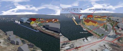 Skissen til venstre er fra 2020 og viser Marnet Marine Park etter at prosjektet ble redusert som følge av innsigelser fra offentlige myndigheter på det opprinnelige prosjektet. Skissen til høyre er ny og viser området med 48 ferieleiligheter istedenfor 80.
