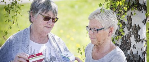 Medisiner: Ann Lise Sund (t.v.) og Irene Svendsrud i astma- og allergiforbundet i Glåmdal konstaterer at det er mange som plages av pollenallergi, men det finnes lindring i form av ulike medisiner. foto: jens haugen