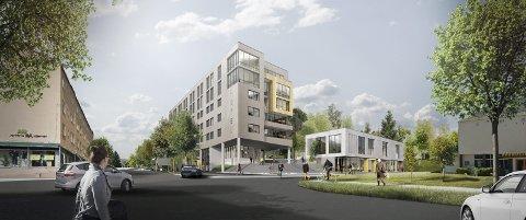 HOTELL I BYPARKEN: Slik ser det foreløpige utkastet til nytt hotell i Byparken ut. Nå er selskapet som skal drive prosessen videre stiftet og registrert i Brønnøysund. ILLUSTRASJON: LINK ARKITEKTUR