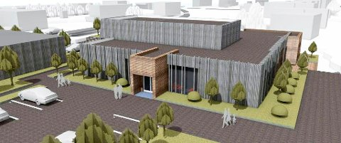 Slik så det nye helsehuset i Herøy ut da det bare fantes på tegnebrettet.