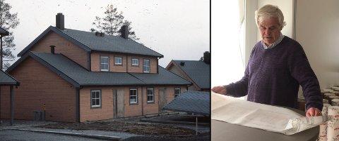 Gudmund Breivik og JM deler nå ut originaltegninger til en rekke hus bygget de siste tiårene. Til venstre en tomannsbolig på Flåtestad fra 1987.