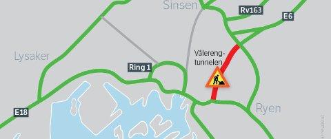 Alternative ruter rundt Vålerengtunnelen. (Illustrasjon: Statens vegvesen)