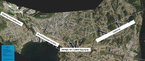 INDRE HAVN: En eventuell ny togtrasé med stasjonsløsning i Indre havn.