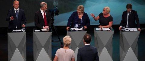 VALGETS KVAL: Partilederne kan vinne stemmer hvis de får snakke om konfliktlinjer som aktualiserer deres velgeres preferanser. Her fra partilederdebatten i Arendal.  FOTO: Tor Erik Schrøder / NTB scanpix