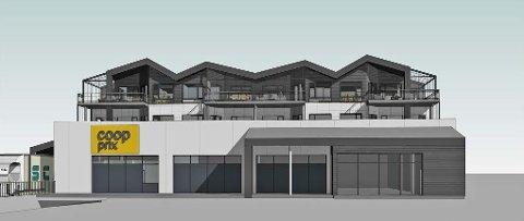 FORSINKET: Slik skal det kombinerte nærings- og leilighetsbygget se ut når det står klart. Den opprinnelige planen var åpning i vår, men saksbehandlingen i kommunen dro så ut at Coop Prix-butikken først vil kunne åpnes våren 2021.