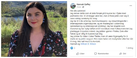 SISTE HÅP: Hannah Elizabeth Gaffey har søkt relevante jobbar i snart eitt år utan å få napp. No endrar ho strategien.