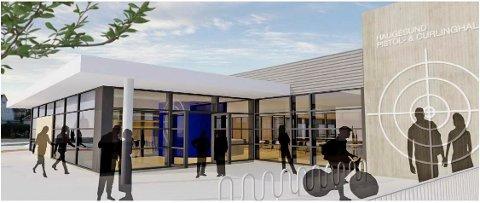 VELKOMMEN INN: Slik blir inngangspartiet til den nye flerbrukshallen til Haugesund Pistolklubb og Haugesund Curlingklubb.