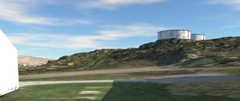 SKISSE: Dataskissen gir et inntrykk av hvordan vanntankene blir, sett fra gamle Hegg skole ved Gjøgriveien. På skissen er vegetasjonen fjernet. Vegetasjon gjør trolig inngrepet mindre synlig enn skissen viser.