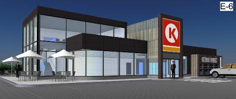 BYGGER I HØYDEN: For første gang bygger Circle K en bensinstasjon på to etasjer. Tegning: Circle K