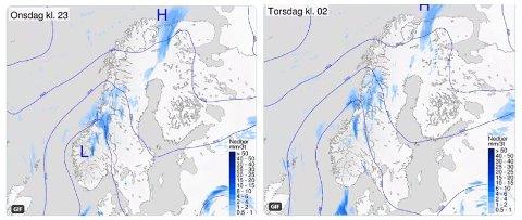 KALDFRONT: Etter en flott pinsehelg i hele Norge, kommer det nå en kaldfront inn fra havet som betyr kjøligere og mer ustabilt vær enkelte steder. Foto: (Meteorologisk institutt/Yr)