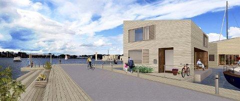 Illustrerer: I området nord for Betongen båthavn foreligger det nå ønske om å endre de allerede regulerte planene om en stor småbåthavn til et bryggeanlegg med boliger fortøyd. Illustrasjon: Østavind