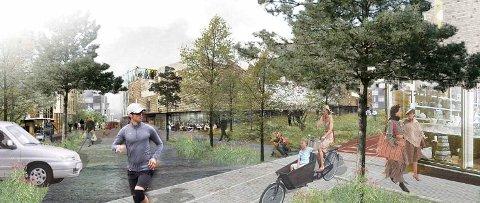 Bygate i den nye landskapsbyen, bidrag fra SLA og Vandkunsten i forbindelse med utbygging av Gjersrud-Stensrud