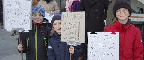 De det gjelder: anton Fredriksen Hansen, Daniel Løseth og Morild Lanser demonstrerte med plakater.