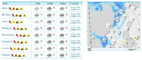 Mild, fuktig luft fra sørvest gir kraftig regn i Nordland på søndag. På Helgeland, Saltfjellet og Salten ventes intensiteten i perioder å bli 60 til 70 millimeter på 12 timer. I løpet av hele søndag kan nedbøren komme opp i 100 til 120 millimeter.