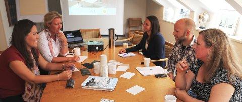 TROR PÅ SOLCELLER: – Vestfold har like mange soltimer som landene midt i Europa, forteller Høyre-politiker Lene Westgaard-Halle (fra venstre), leder i fylkeskommunens utvalg for klima, energi og næring. Videre mot høyre Eli Saastad i Tønsberg næringsforening, Marianne Hernes og Marius Borg, samt Sanda Knutson fra høyskolen.