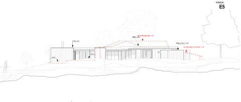 Slik vil hytta bli seende ut mot vest. De røde stiplede linjene markerer dagens hytte og anneks.