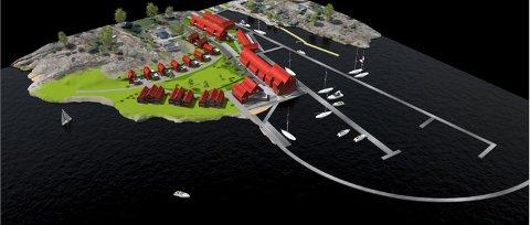 STORSTILT UTBYGGING: Slik ser Marnet Marine Park for seg at området på odden mellom Øyenkilen og Fjeldskilen kan bli med blant annet 80 fritidsleiligheter, utvidelse av brygga og næringsfasiliteter kan bli.