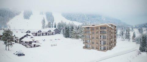 EN AV FIRE: Slik vil det første bygget i Trysil Alpin Lodge se ut, når det står ferid, etter planen mot slutten av 2022.