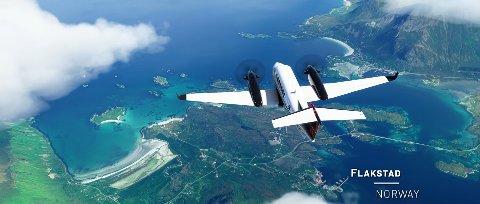 Slik ser Flakstad ut i Microsoft Flight Simulator.