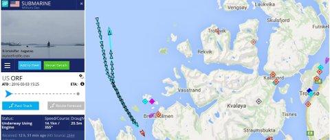 AMEIRKANSK UBÅT: Dette er plottet som garantert kommer til å vekke oppsikt fredag. Den viser en amerikansk ubåt som snur ytterst i Malangen torsdag morgen, bare drøye to uker etter en het debatt om amerikanske atomubåter og avtalen med Tromsø havn. Illustrasjon: Marine Traffic.