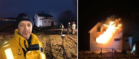 VIKTIG: Beredskapsleder Jørgen Mauno Johansen i Tromsø brann og redning sier muligheten for å øve på hus som det i Tønsvika torsdag er gull verdt for etaten. Foto: Are Medby