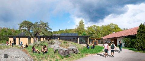 Slik er nye Tjøme ungdomsskole tegnet av Ola Roald, med gammelt bygg til høyre, som skal rehabiliteres.