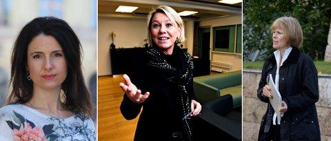HISTORISK: Statsråd Monica Mæland (H) i midten mener at dette er en historisk dag, men Jenny Klinge (Sp) til venstre lover omkamp. Avtroppende sorenskriver Marit Nervik vet ikke hva hun skal gjøre i framtiden.