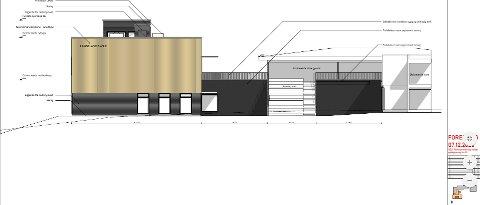 PLANER: Slik skal det nye tilbygget (til venstre) ved Langeland skole se ut når det står ferdig – over området som modulbygget til dagens SFO står.