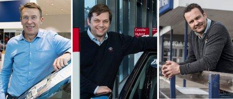 FORHANDLERE: Eirik Trygve Heiberg hos Hamax Auto, Torgrim Klokkervold hos Toyota og Anders Larsen hos Brænden motor.